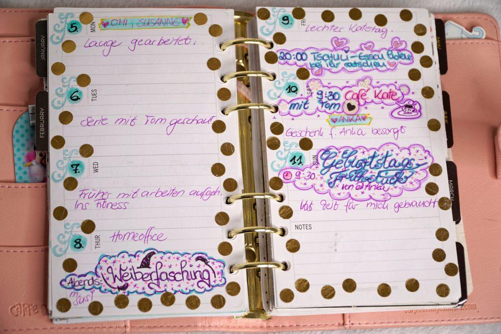 Seite mit Kalendereinträgen